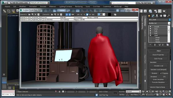Defining Cloth properties: Density and Damping: Cloth Simulation in 3ds Max