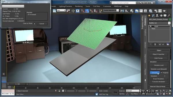 Defining Cloth properties: Dynamic and Static Friction: Cloth Simulation in 3ds Max