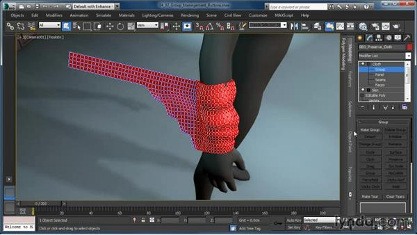 The group management buttons: Cloth Simulation in 3ds Max