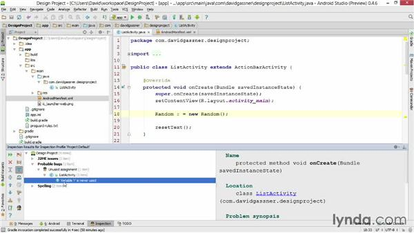 Analyzing code: Android Studio First Look