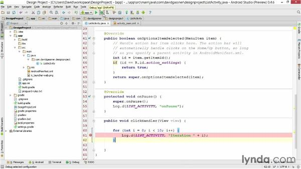 Using breakpoints and stepping through code: Android Studio First Look