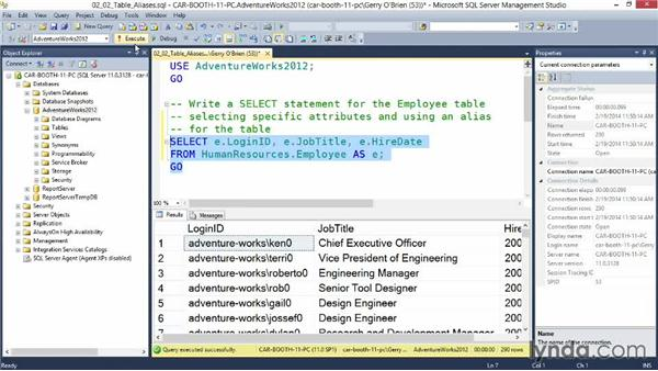 Using aliases in your SELECT statement: Querying Microsoft SQL Server 2012