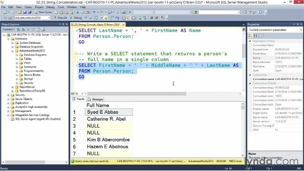 Using string concatenation: Querying Microsoft SQL Server 2012