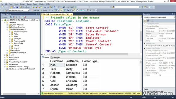 Using CASE expressions: Querying Microsoft SQL Server 2012