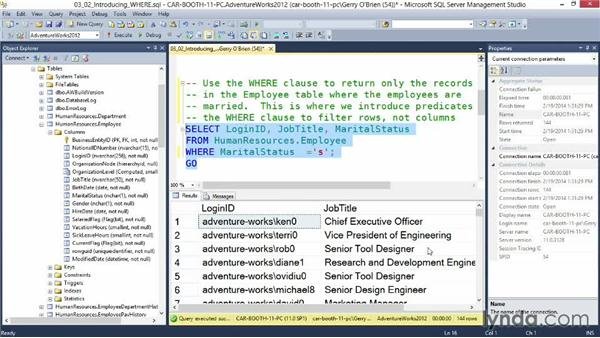 Introducing the WHERE clause: Querying Microsoft SQL Server 2012