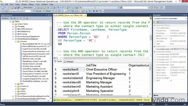 WHERE clause relational operators: Querying Microsoft SQL Server 2012