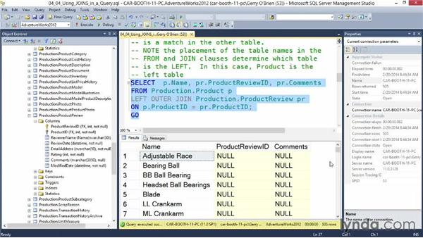 Using JOINs in a query: Querying Microsoft SQL Server 2012