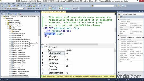 Grouping results with GROUP BY: Querying Microsoft SQL Server 2012