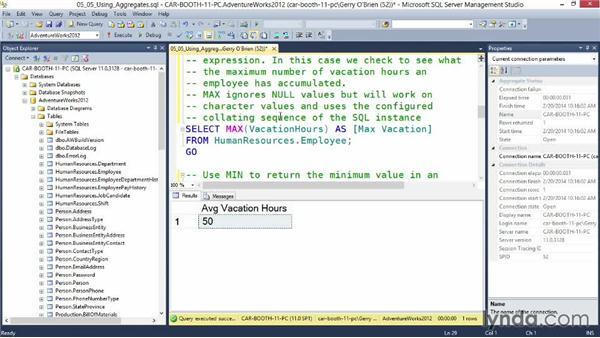 Using aggregates: Querying Microsoft SQL Server 2012