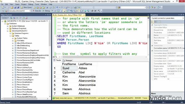 Queries using character data types: Querying Microsoft SQL Server 2012