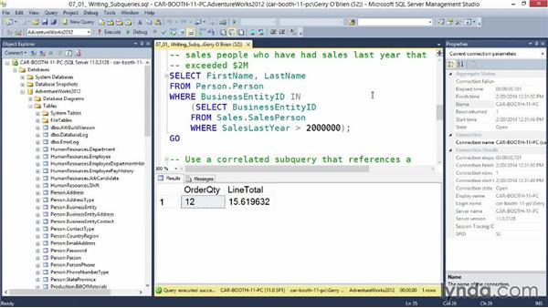 Writing subqueries: Querying Microsoft SQL Server 2012