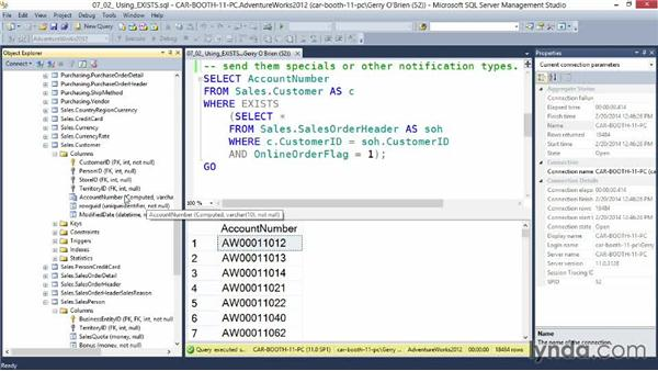 Using EXISTS: Querying Microsoft SQL Server 2012