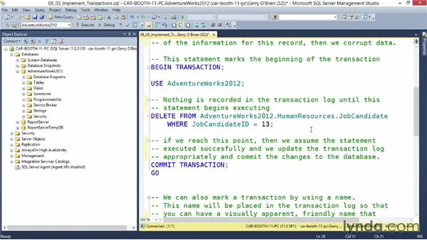 Implement transactions: Querying Microsoft SQL Server 2012