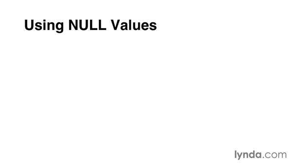 NULL values: Up and Running with MySQL Development