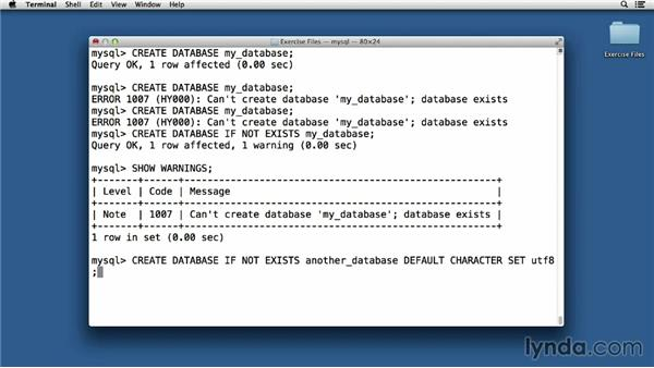 Creating a database: Up and Running with MySQL Development