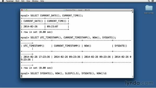 Date and number functions: Up and Running with MySQL Development