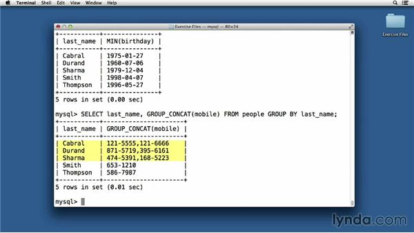 Arranging items with GROUP BY clauses: Up and Running with MySQL Development