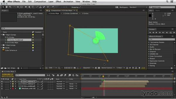Creating a cascade animation using masks and modes: Mograph Techniques: Shape Animation in After Effects