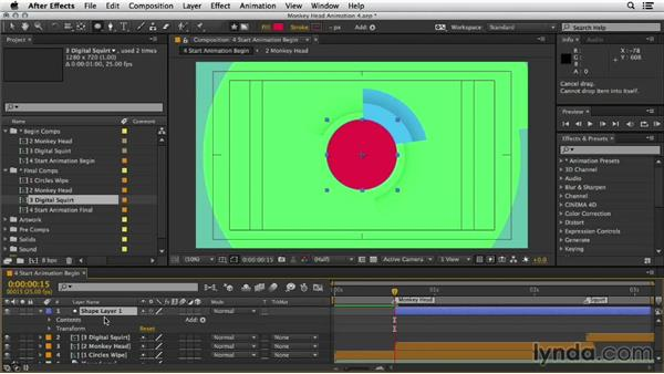 Composite the final shot: Mograph Techniques: Shape Animation in After Effects