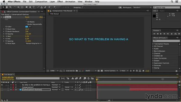 Revealing text automatically: Mograph Techniques: Shape Animation in After Effects