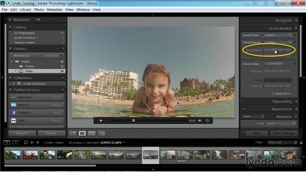 Adjusting the white balance of a video clip: Working with Video in Lightroom