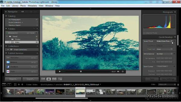 Using a preset with a video clip: Working with Video in Lightroom