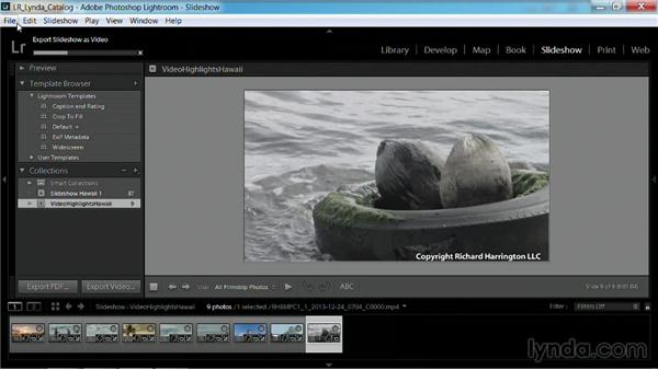 Exporting a slideshow as a video: Working with Video in Lightroom