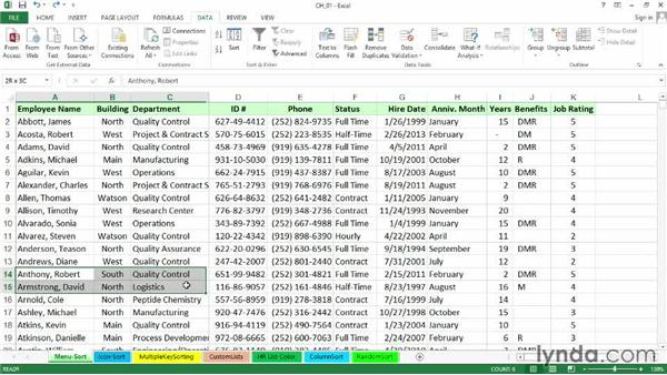 Sorting concepts and Sort dialog options: Excel 2013: Managing and Analyzing Data