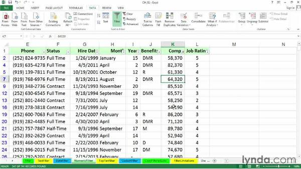 Using numeric filters: Excel 2013: Managing and Analyzing Data