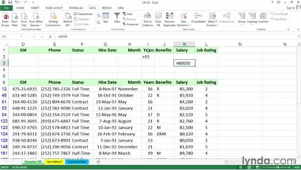 Using Advanced Filter for complex OR criteria: Excel 2013: Managing and Analyzing Data