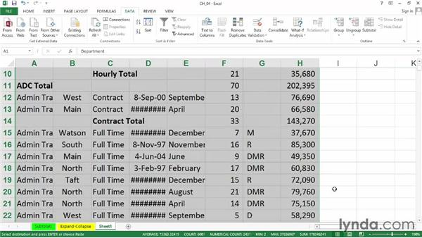 Expand and collapse displays quickly with grouping and outlining symbols: Excel 2013: Managing and Analyzing Data