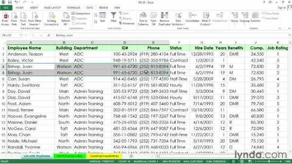 Using the Remove Duplicates command: Excel 2013: Managing and Analyzing Data