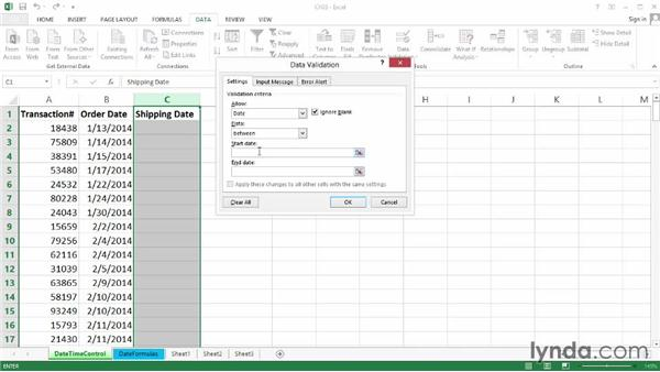 Date limitations with basic controls: Excel 2013: Data Validation in Depth