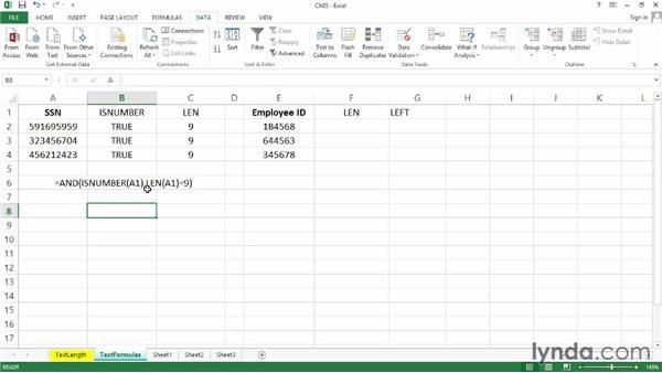 Text-length limitations using formulas: Excel 2013: Data Validation in Depth