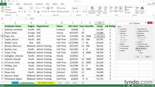 Locating cells with data validation rules: Excel 2013: Data Validation in Depth