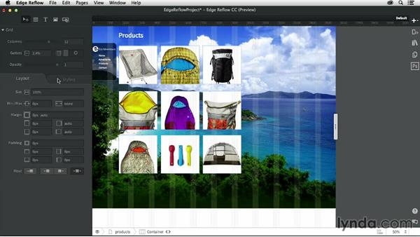 Creating pages and projects from Photoshop CC: Creating a Responsive Design with Edge Reflow