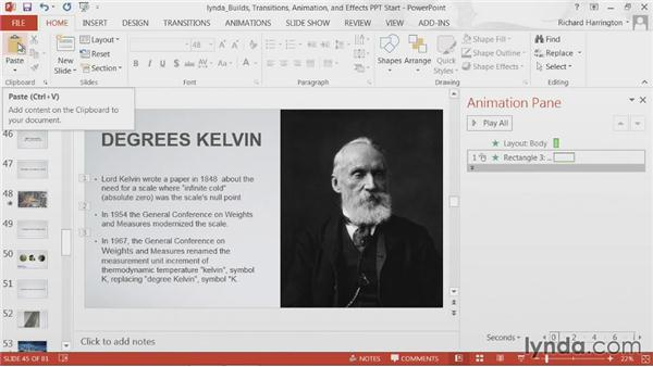 Setting animation on the slide master: PowerPoint: Builds, Transitions, Animations, and Effects