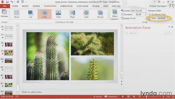 Saving custom timings for transitions: PowerPoint: Builds, Transitions, Animations, and Effects