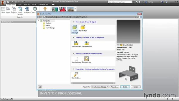 Reviewing different file types: Inventor 2014 Essential Training