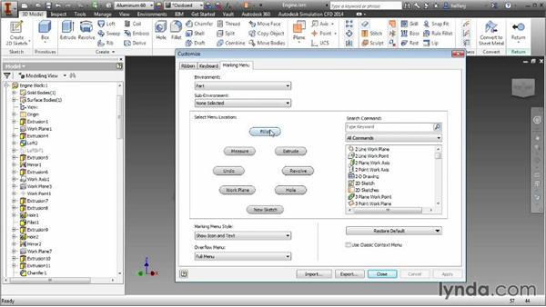 Marking menu customization: Inventor 2014 Essential Training