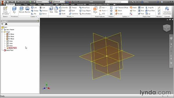 Working with origin geometry: Inventor 2014 Essential Training