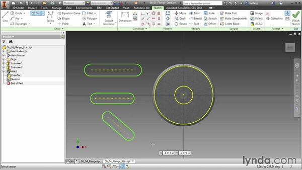 Creating slots: Inventor 2014 Essential Training