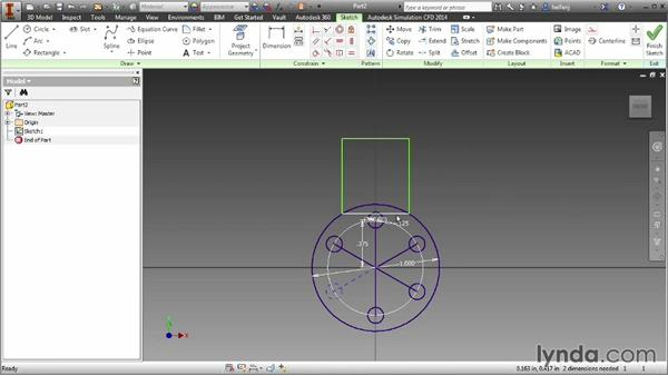 Creating rectangular, circular, and mirrored sketch patterns: Inventor 2014 Essential Training