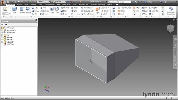Creating offset work planes: Inventor 2014 Essential Training