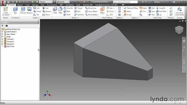Projecting geometry: Inventor 2014 Essential Training