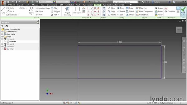 Keeping extrusions connected with the To next face/body option: Inventor 2014 Essential Training