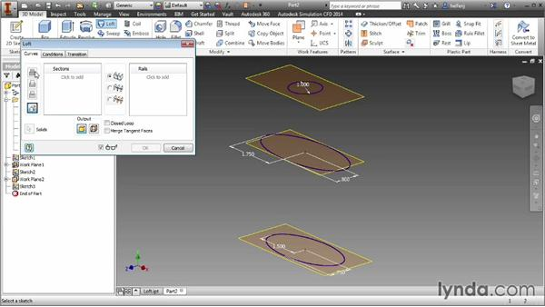 Creating complex shapes with the Loft tool: Inventor 2014 Essential Training