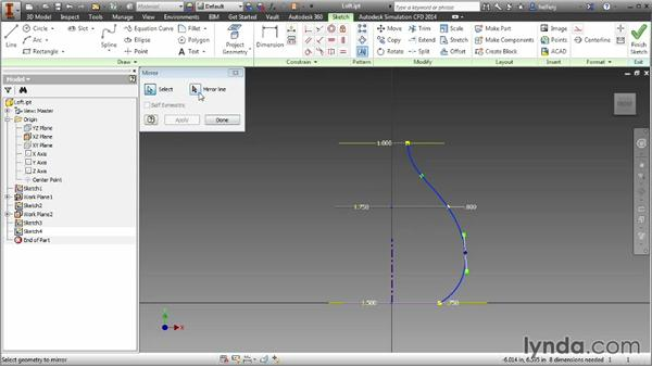 Adding control to a loft by creating rails: Inventor 2014 Essential Training