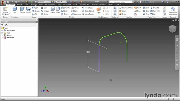 Creating a sweep feature: Inventor 2014 Essential Training