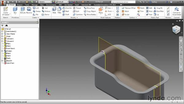 Creating a sweep feature with model edges: Inventor 2014 Essential Training